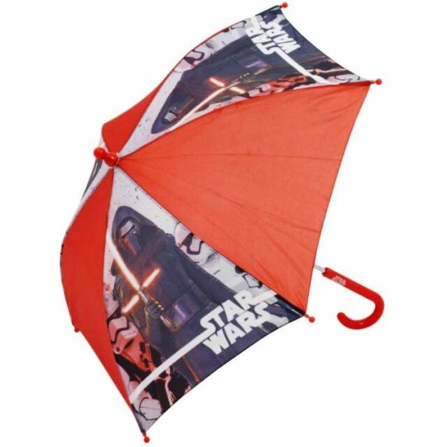 Red Disney Kids Star Wars Stick Umbrella with Character Handle