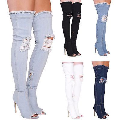 Señoras para mujer Denim encima de la rodilla Peep Toe rasgada botas talla 3 4 5 6 7 8 9