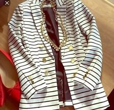 H&M White And Black Stripe Blazer Size UK 10 EURO 36  BNWT GOLD BUTTONS