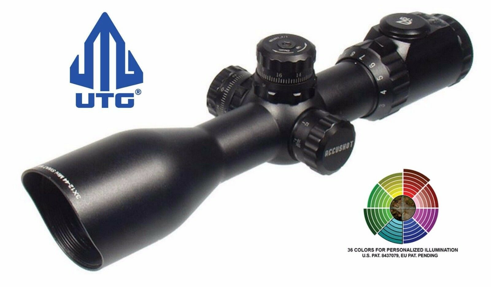 UTG Leapers 3-12X44 Swat Compact  Side Focus Mil Dot Rifle Scope 36 colors