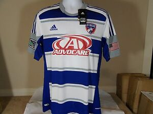 free shipping b4e04 c2209 Details about New Adidas Formotion FC Dallas Advocare MLS Authentic Away  Blue Soccer Jersey L