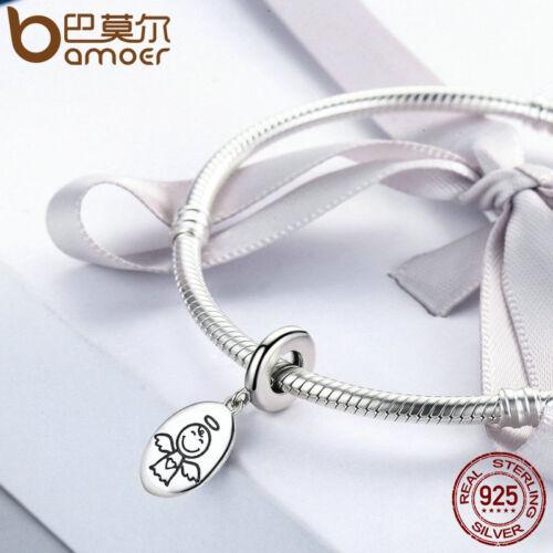 BAMOER New 925 Sterling silver Charm Guardian angel Dangle Fit bracelet Jewelry
