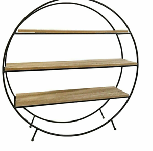 Retro-Style-Free-Standing-Round-Display-Unit-Shelf-Metal-And-Wood-50cm