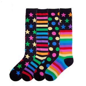 K.Bell Halloween Orange Black Stripes Ladies Knee high Acrylic Blend Socks New