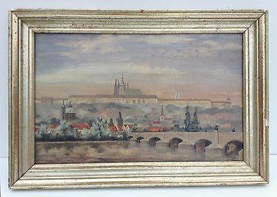 100% Wahr Stadtansicht Prag Festung Tschechoslowakei 1941 Silberrahmen Ölgemälde Moldau