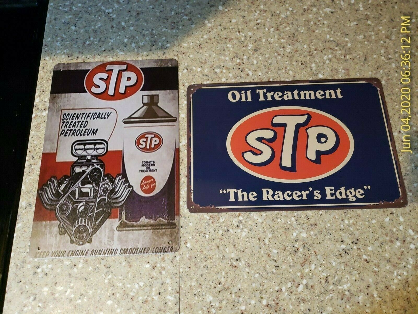oil treatment STP racer edge tin metal sign nostalgic room wall decor