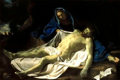 DEAD CHRIST ON THE KNEES OF THE VIRGIN PAINTING BY CHARLES LE BRUN REPRO