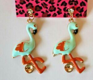 Betsey-Johnson-Crystal-Rhinestone-Enamel-Flamingo-Post-Earrings