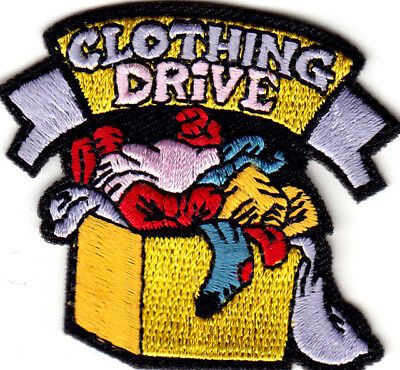 """clothing Drive""- Collections - Charity - Donation - Iron On Embroidered Patch"