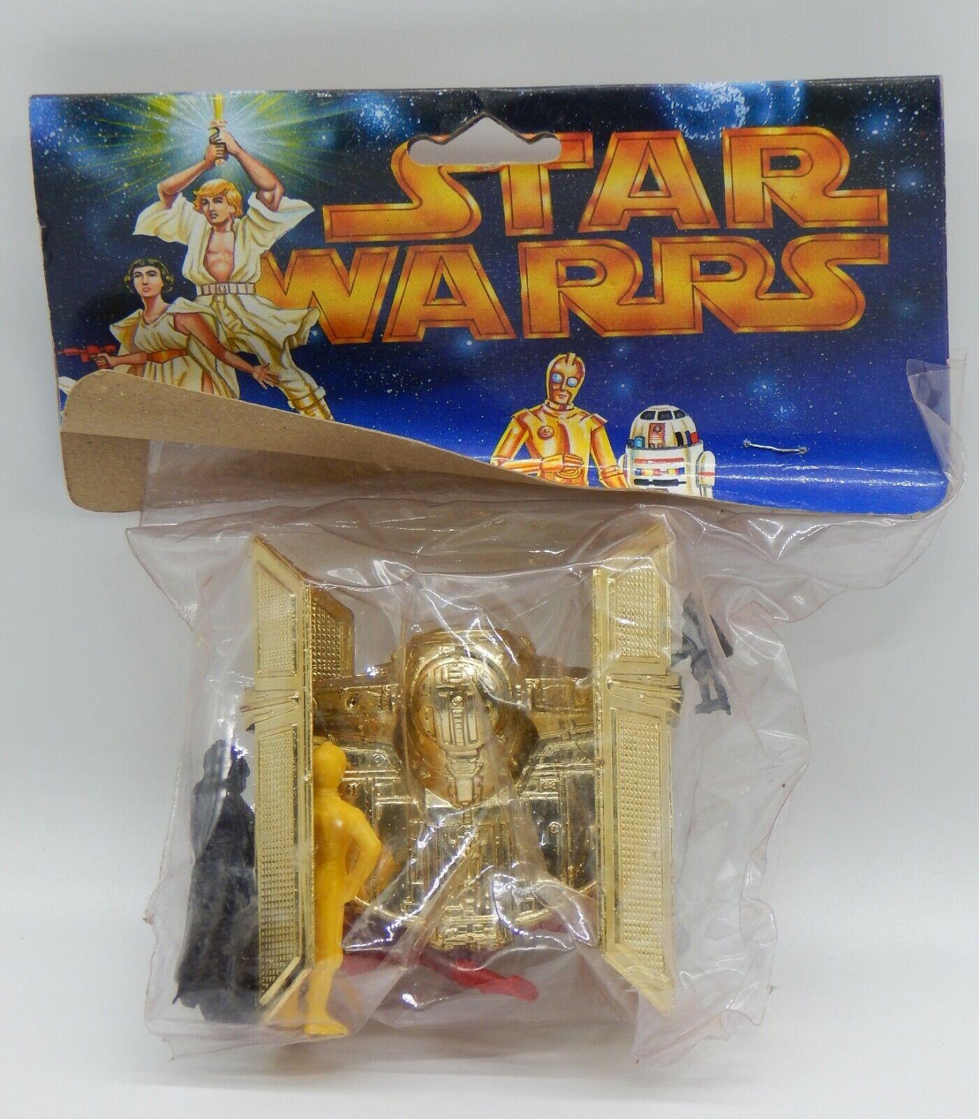 Década de 1990 Vintage Tie Fighter & Figuras de Plástico México Raro botaleg Menta en paquete de Estrella Wars