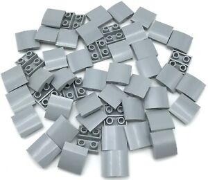 LEGO New Lot of 4 Light Bluish Gray 2x1 Curved Inverted Slope Pieces