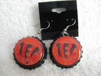 "1"" Bottle Cap Image Earrings ~ Handcrafted ~ **Gift Idea ~ Bengals"