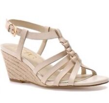 42e057ebf BCBG Paris Genuine Leather Selinex Nude Wedge Sandals For Women