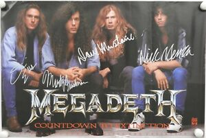 Megadeth-JSA-Signed-Autograph-Promo-Poster-Full-Band-Nick-Menza-Marty-Friedman
