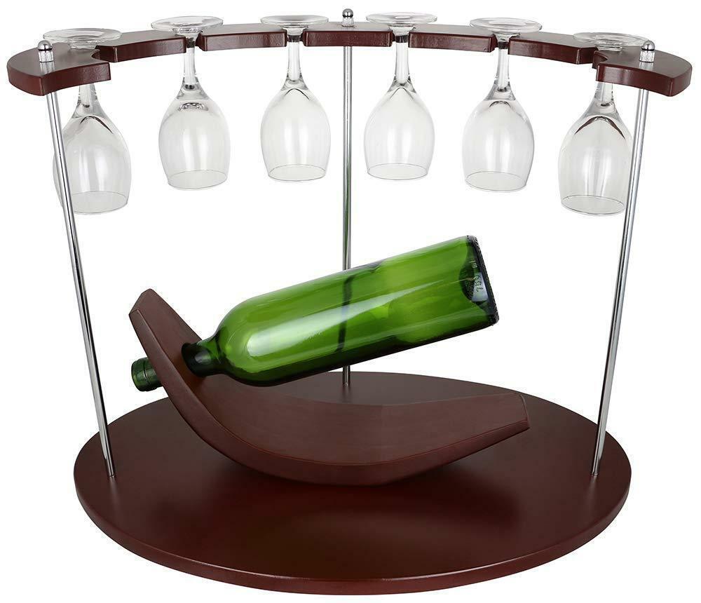 (D) porte bouteille vin et 6 verres Support pour Table de salle à hommeger et bar comptoir