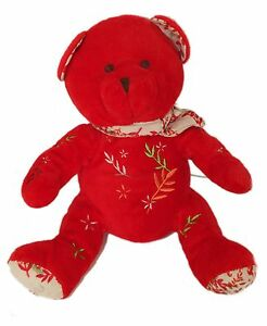 Peluche doudou ours rouge NOCIBE 2006 Ines 22 cm