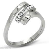 Spiral Clear Crystal Stones Silver Stainless Steel Ladies Ring
