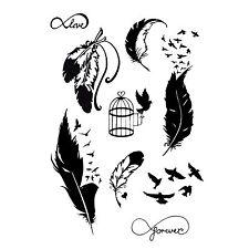 NUOVO tatuaggio temporaneo Uccello E PIUMA KIT NERO JAGUA Henné 9 Designs TVZ *