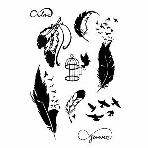 new temporary tattoo bird and feather kit black jagua henna 9 designs tvz ebay. Black Bedroom Furniture Sets. Home Design Ideas