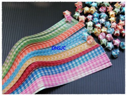Lucky Wishes Star 19x0.7 cm. Shiny Plaid 140 strips Origami Papers Folding DIY