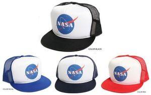 New Retro  NASA  Round Vintage Decal logo Flat Brim Hat Cap Trucker ... 17be0ac67905