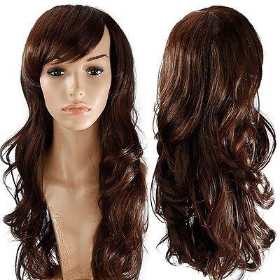 Elegant Lady Full Wig Top Kanekalon Hair piece Heat Resistant Multi Color UPS L3