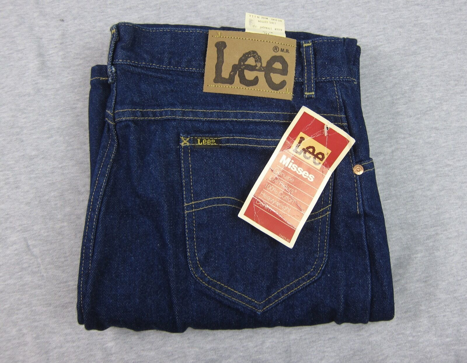 NEW Vintage Woman's LEE Misses Dark bluee Heavyweight Denim Jeans NWT 32x34