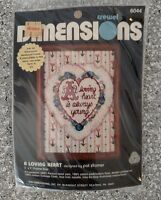 Dimensions Crewel Kit Vintage 1980 A Loving Heart Is Always Young
