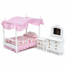 1:12 Dollhouse Miniature Bedroom Furniture Canopy Bed Dresser 3PCS WB002