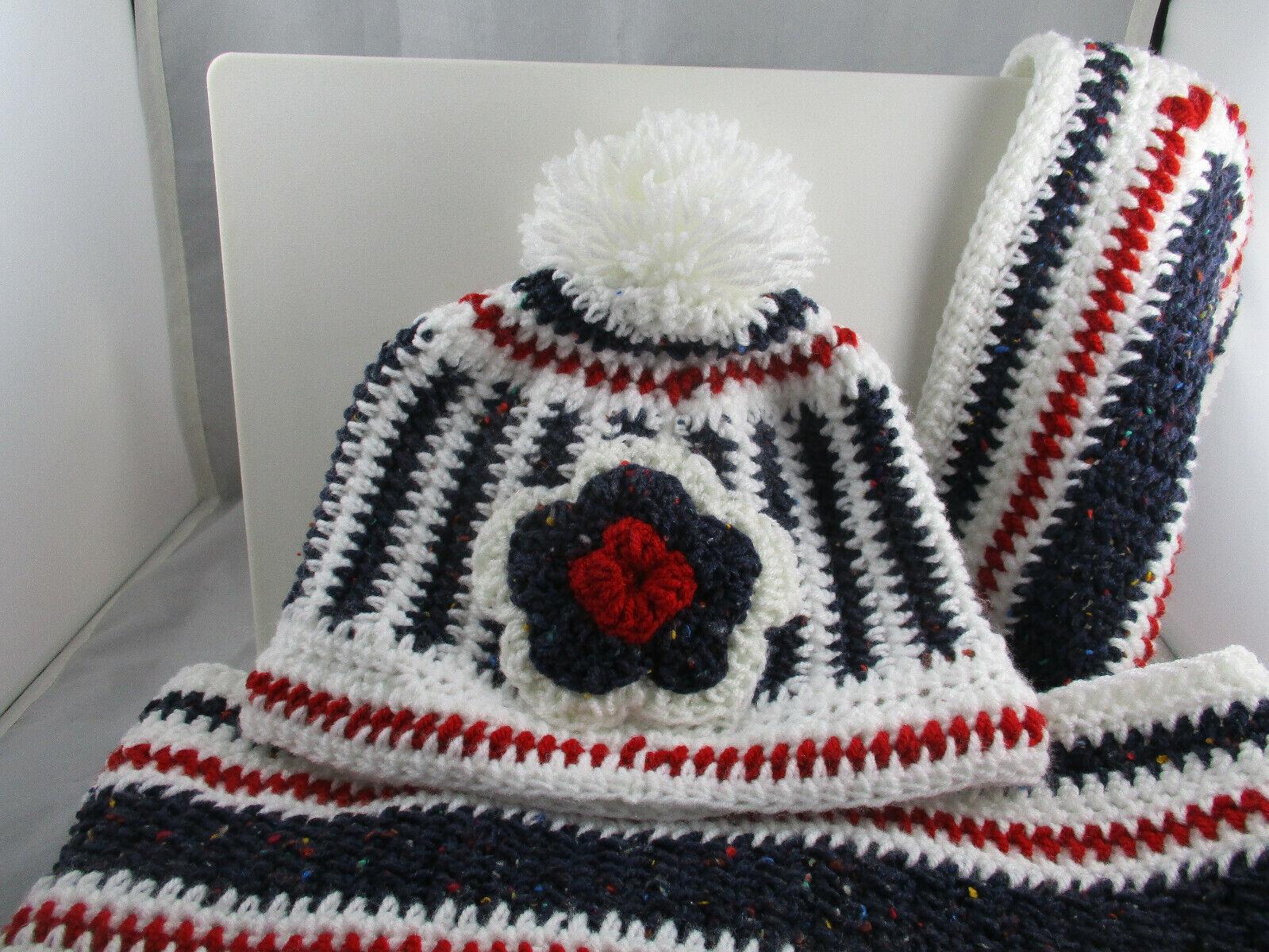 Nuevo Sombrero y Scalf conjunto Mezcla De Lana Crochet Tejido A Mano.