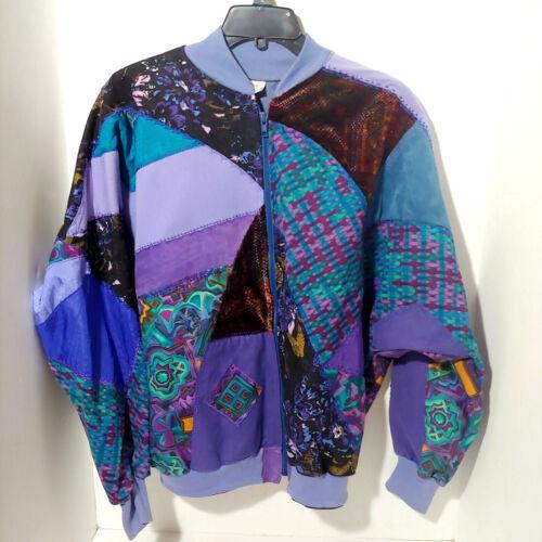 Women's Quilt Patchwork Jacket/ Coat Bomber Hand-M