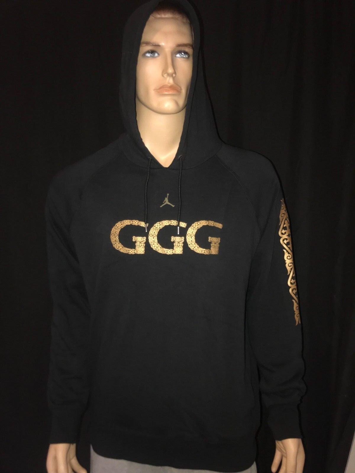 Infidelidad Moda adyacente  Nike Jordan GGG Gennady Golovkin Hoodie Black Gold RARE Size M Aq8822 010  for sale online   eBay
