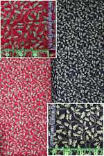 Holly w// Red Ribbon Bows on Black Christmas Quilting Fabric by Yard #3043