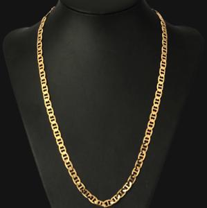 18k-feine-Goldkette-Koenigskette-vergoldet-60cm-lang-4MM-Damen-Herren-Geschenk
