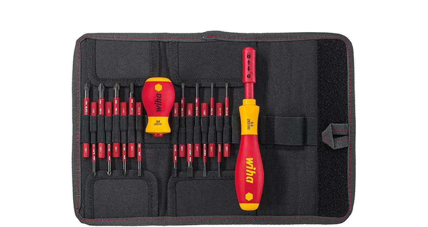 WIHA 2831T18, Slimvario Screwdriver And Bits Set, With Stubby In Bag, VDE 18 -