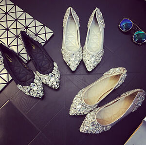 Womens-Rhinestones-Pointed-Toe-Bridal-Wedding-Shoes-Casual-Flat-Slip-On-Pumps-M2