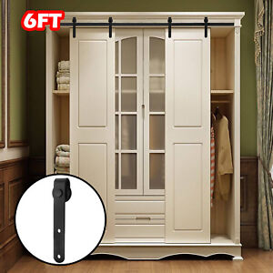 6FT-Steel-Sliding-Barn-Double-Door-Hardware-Cabinet-Closet-Track-Set-Kit-Antique