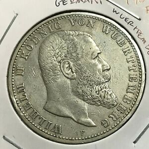 1907-F-GERMANY-WUERTTEMBERG-SILVER-5-MARKS-CROWN-COIN