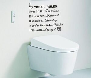 Image Is Loading Toilet Rules Quotes Removable Wall Sticker Pvc Art