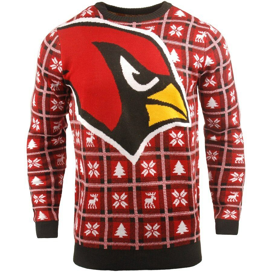 NFL Ugly SWEATER Arizona Cardinals Pullover Christmas Style Big Logo Football 18