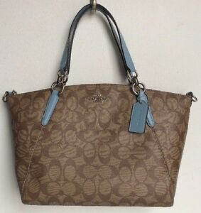 df3cbd43c6622 New Coach 28989 small Kelsey Signature PVC with Leather Satchel ...