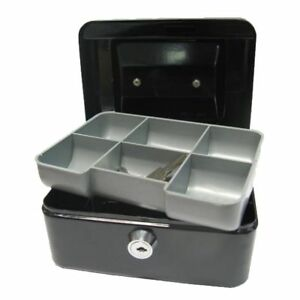 200mm PORTABLE METAL CASH Box No.8 - BLACK-6 COMPARTMENT COIN TRAY **NEW**