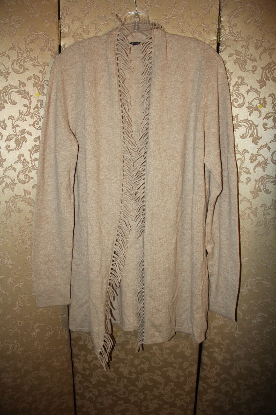 Magaschoni Beige Fringe 100% Cashmere Long Cardigan Sweater Large L