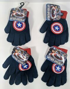 4-Pairs-Of-CAPTAIN-AMERICA-Knit-Gloves-Kid-039-s-One-Size-Fits-Most-New