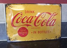 LARGE VINTAGE STYLE COCA-COLA ADVERTISING SIGN. CHABBY CHIC LOOK. DISTRESSED