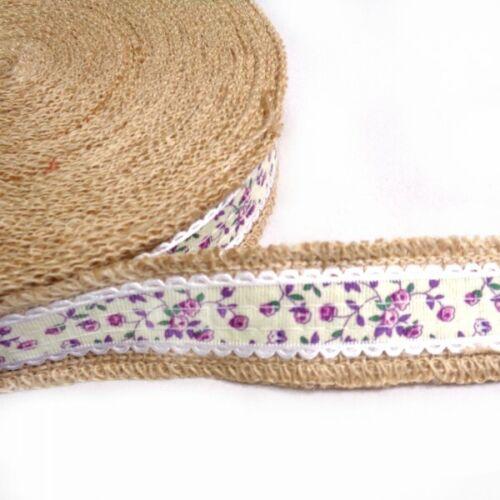1 mètre 40 mm Floral Vines Jute Ruban Craft de Hesse