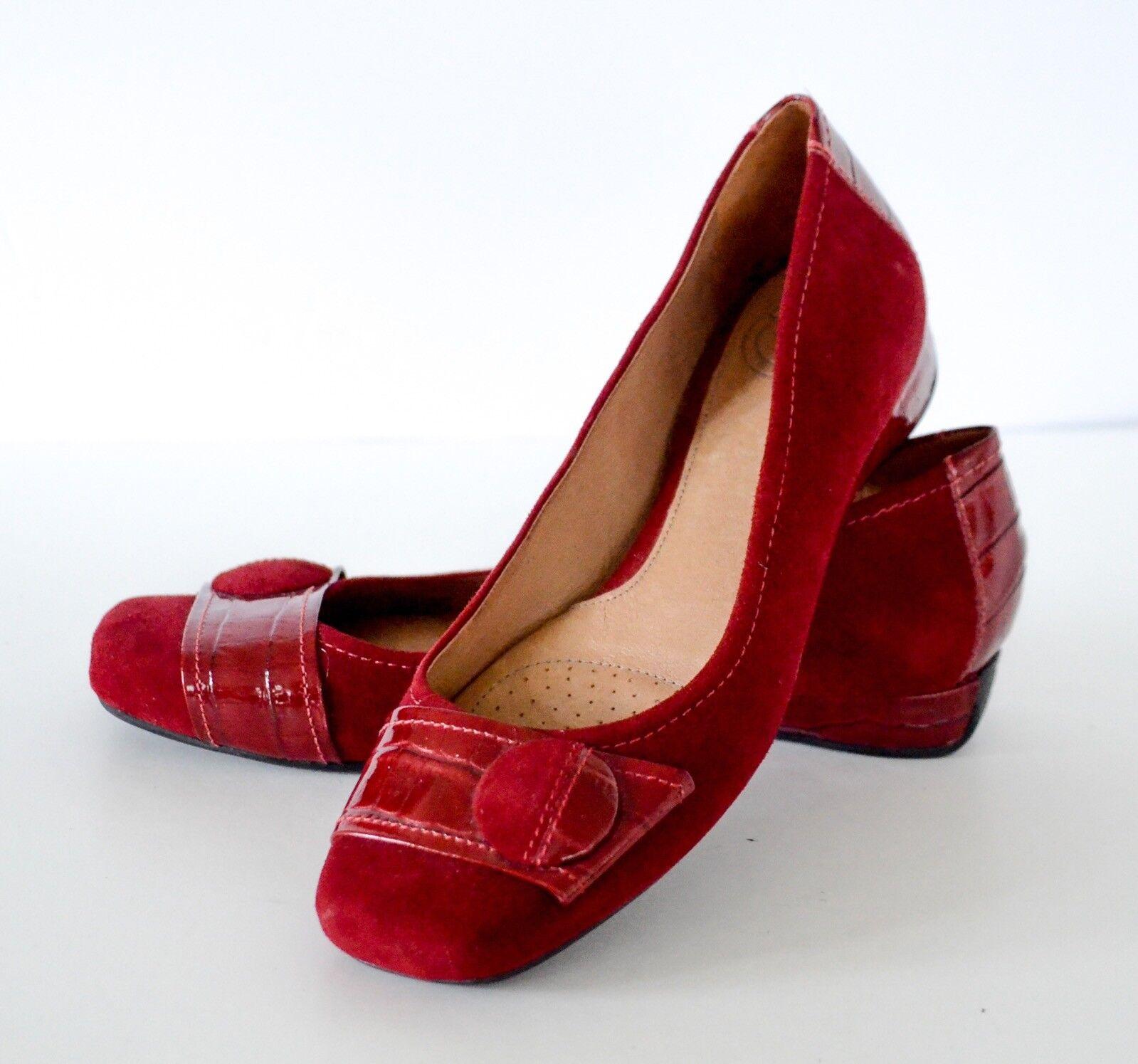 Nurture ROT Suede & Croc Print Patent Leder low heel Wedge Schuhes 8M