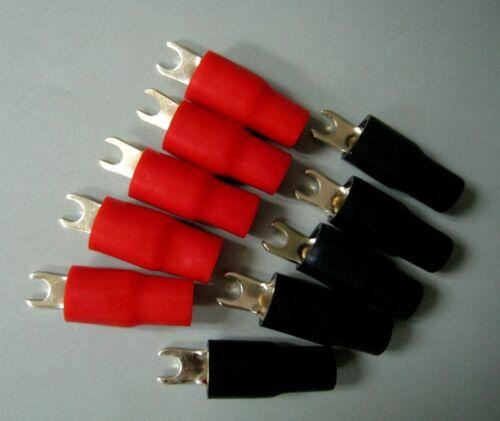 GY4-5 AWG 4 5mm Spade Terminal Brass Nickel Power Ground Crimp #gtc x10