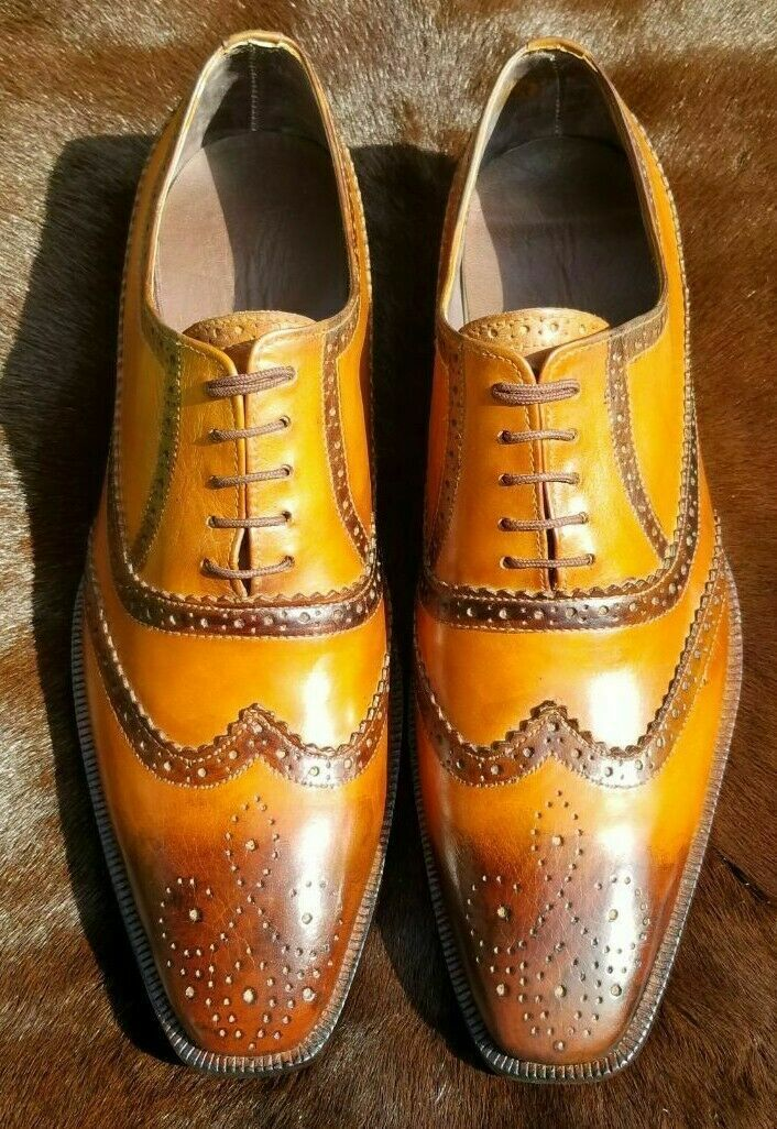 Mens Handmade shoes Genuine Tan Leather Lace-up Brogue Wingtip Formal Wear Boot