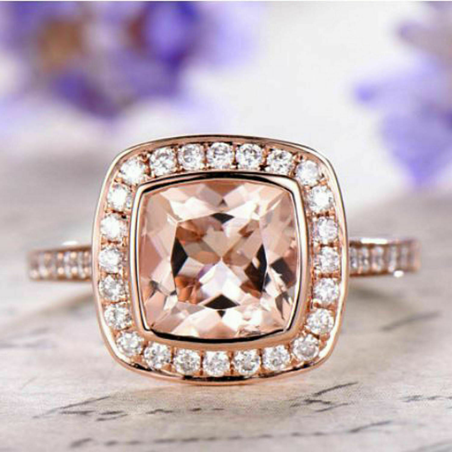 2Ct Cushion Cut Bezel Set Morganite Halo Engagement Ring 14k pink gold Finish